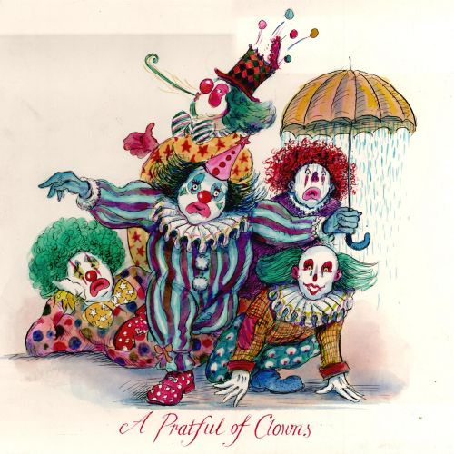 Cartoon illustration of A Pratful of Clowns