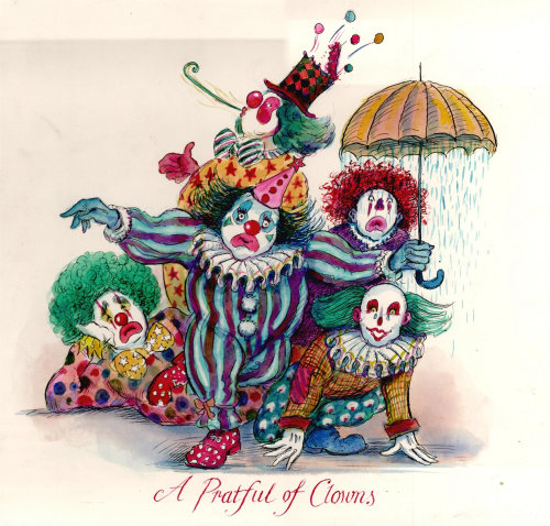 Cartoon illustration of A Pratful of Clowns