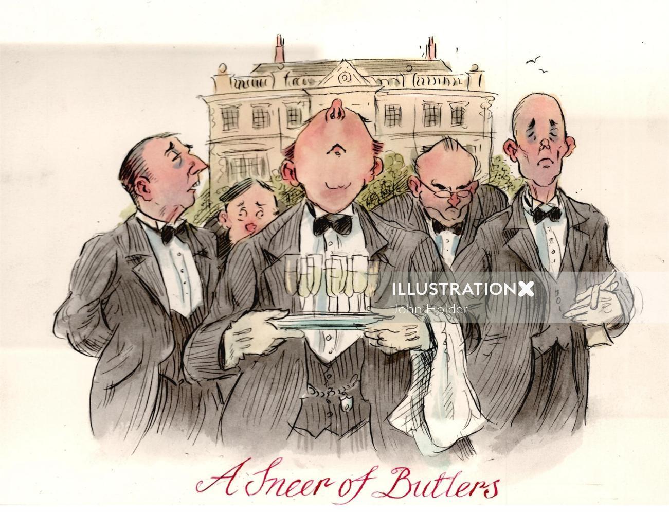 Paper art of A Sneer of Butlers