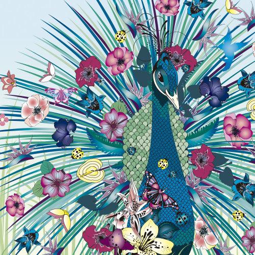 Animais pavão com flores