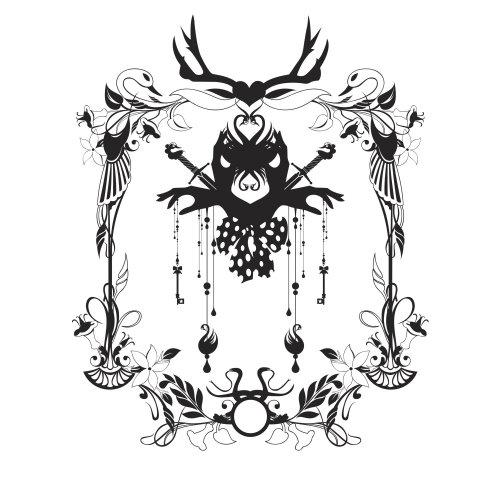 Design assustador em preto e branco