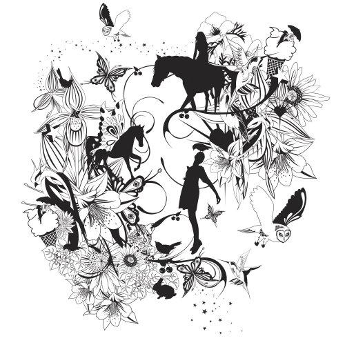 Animal gráfico em preto e branco