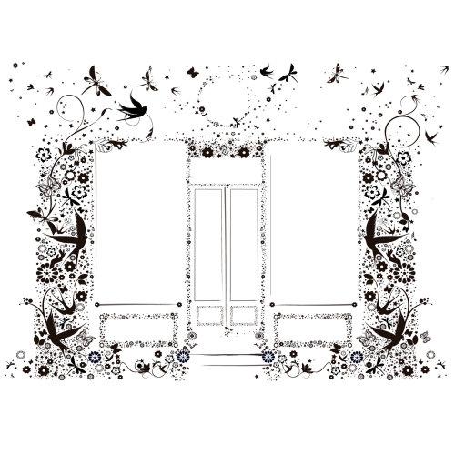 Desenho em preto e branco de folhas e flores