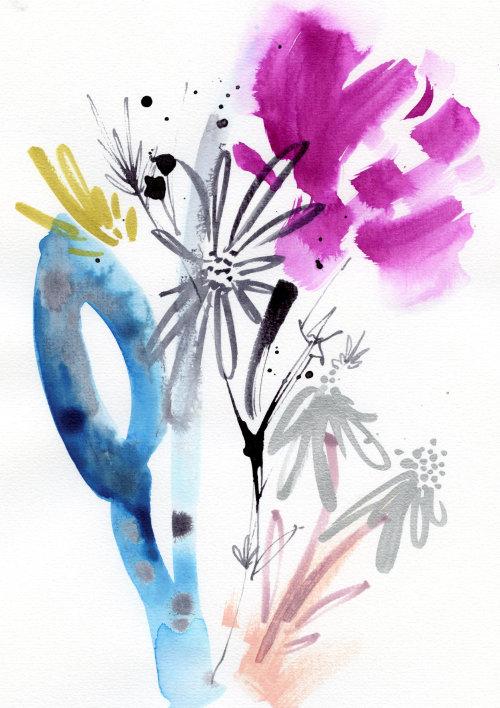Arte gráfica de linhas de folhas e flores