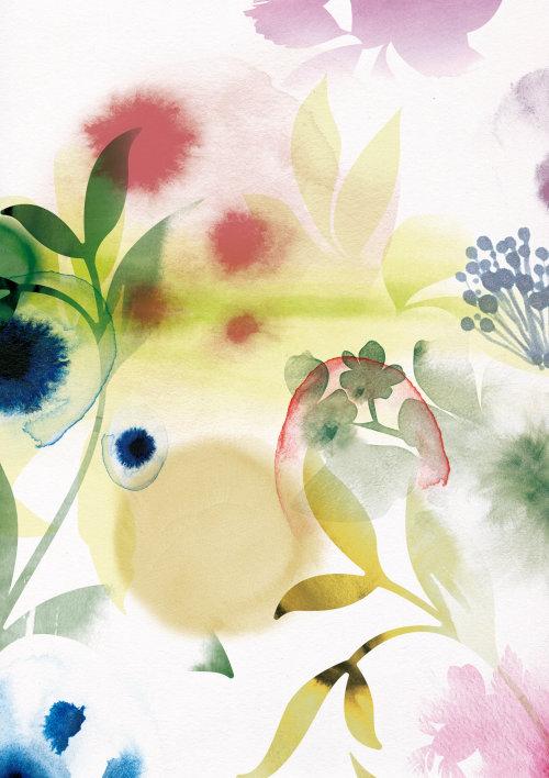 Flores e folhas gráficas