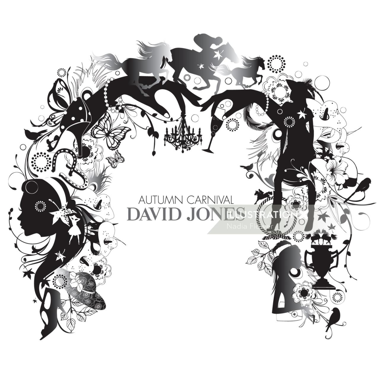 Surreal illustration of david jones sign board