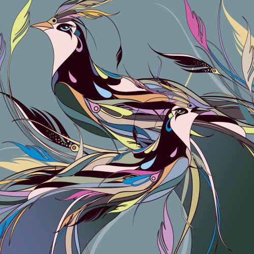 Mixed color art of birds