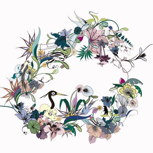 Arte gráfica de animais e flores