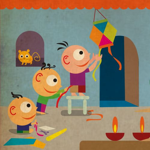 Cartoon illustration of Diwali for Vodafone