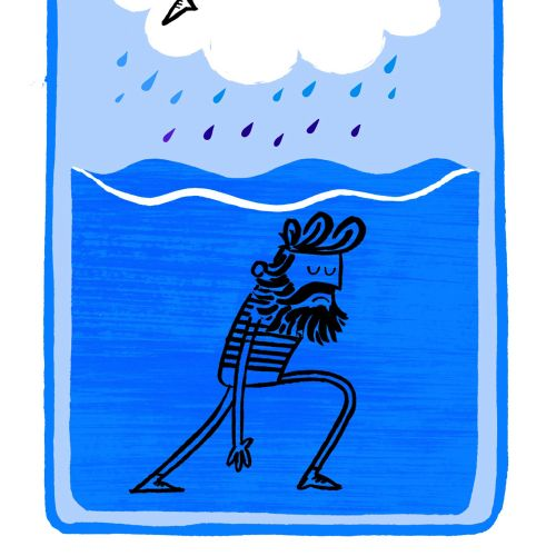 Illustration of character in rain