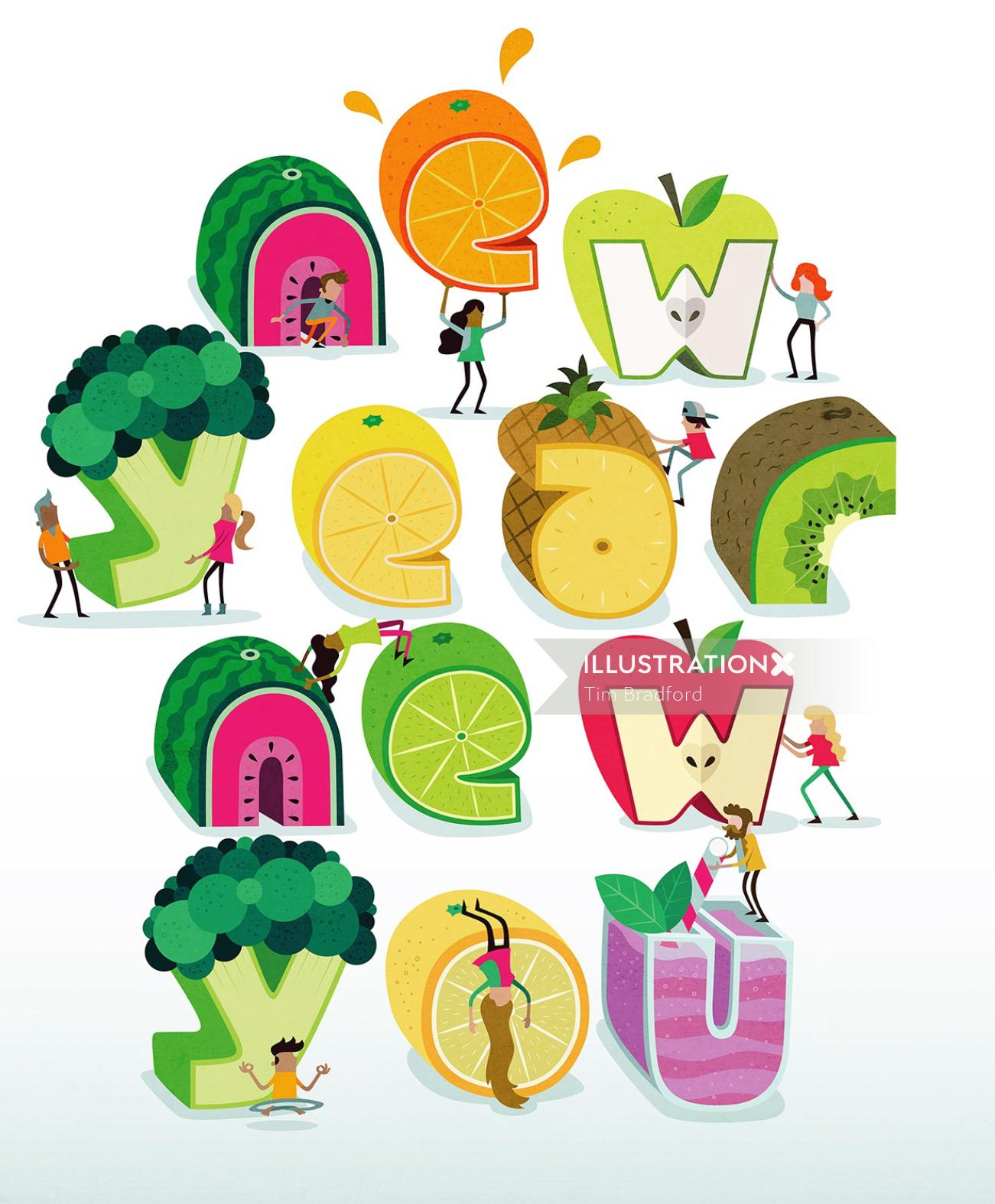 Illustration of fruits in letters shape