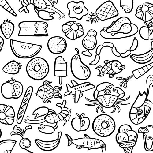 Line icons of fish and fruits