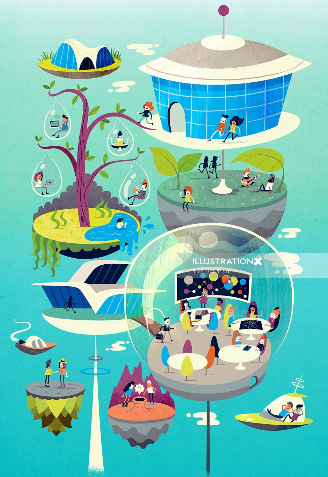 Editorial illustration of flying city
