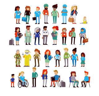 Different types of people illustration