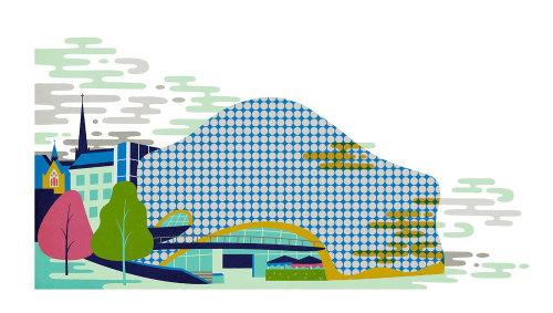Ilustração digital de cidade com edifícios