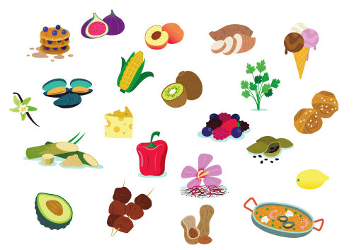 Cartoon icons of various foods