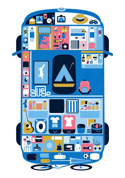 Ilustração digital de van de camping
