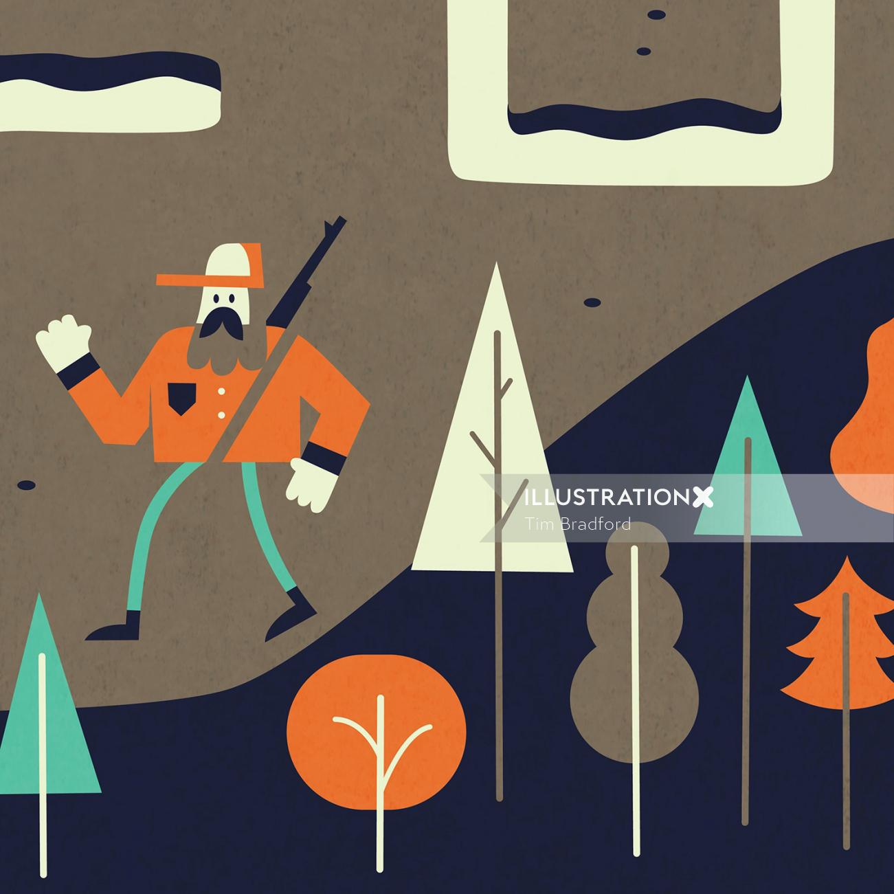 Graphic illustration of man hunting in wild