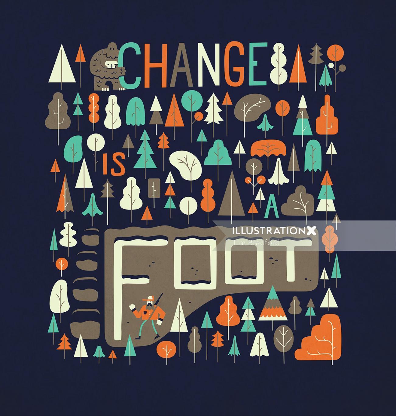 Change is foot nature illustration