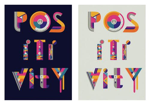 Letras positividade da ilustração