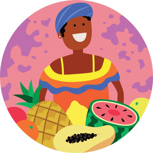 Digital illustration of woman with fruits