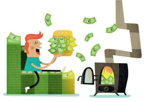 Ilustração conceitual de hambúrguer de dinheiro