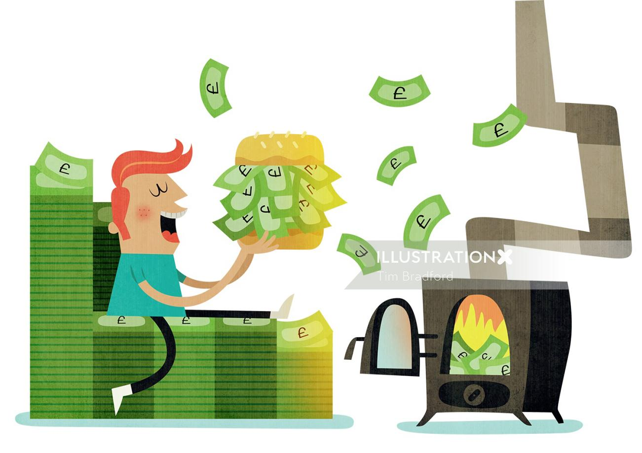 Conceptual illustration of money burger
