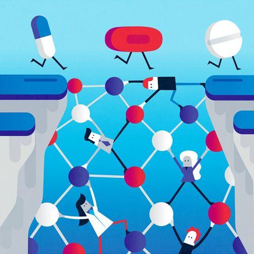 Digital medical illustration of tablets race
