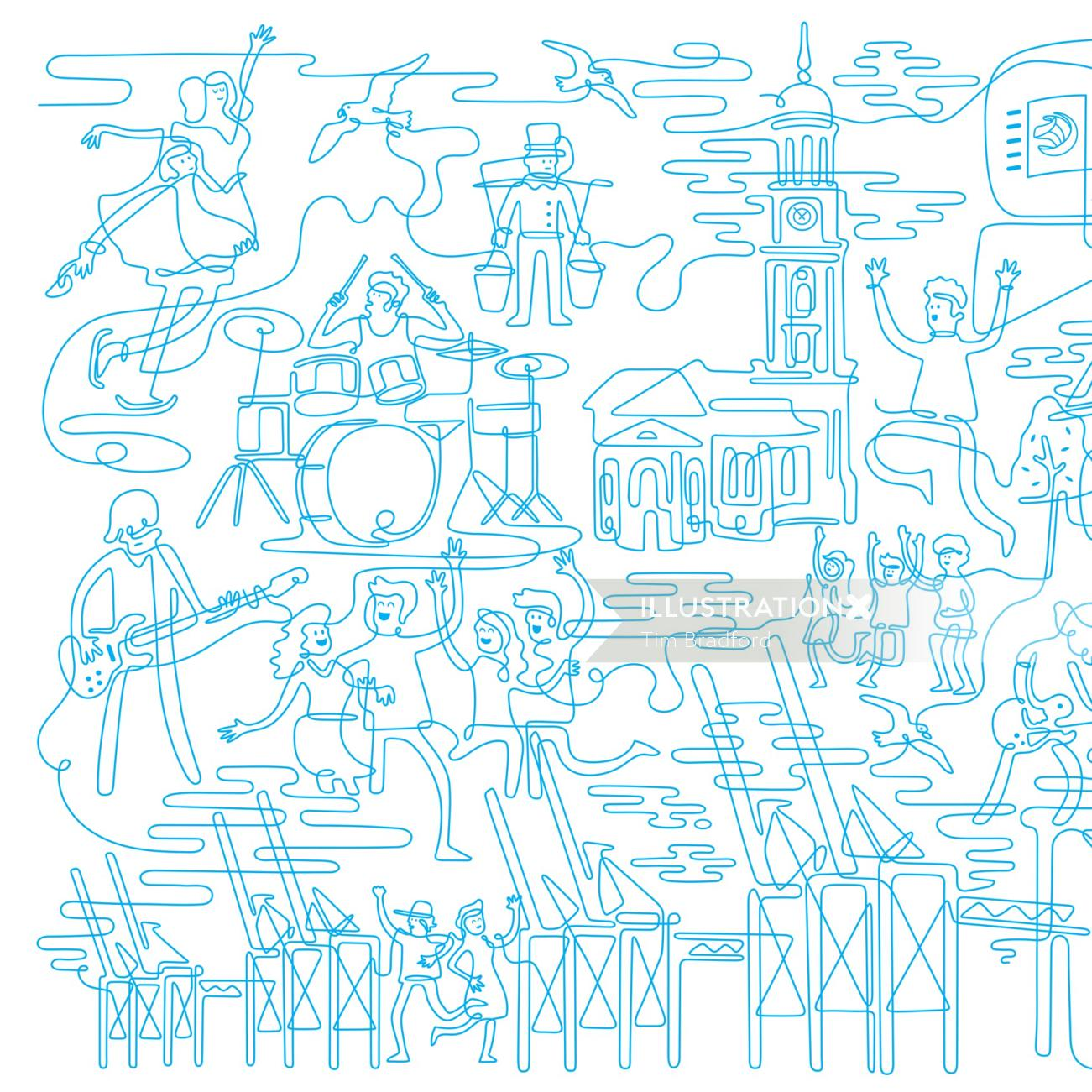 Line illustration of band