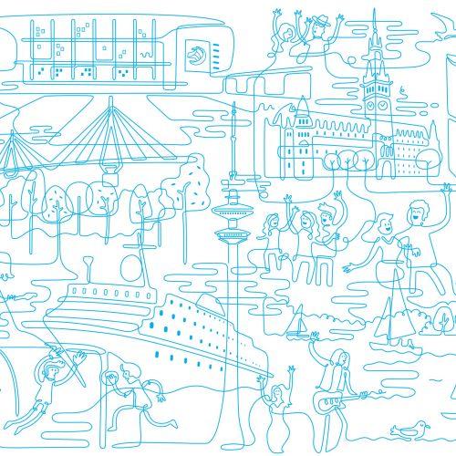 Line illustration of city entertainment