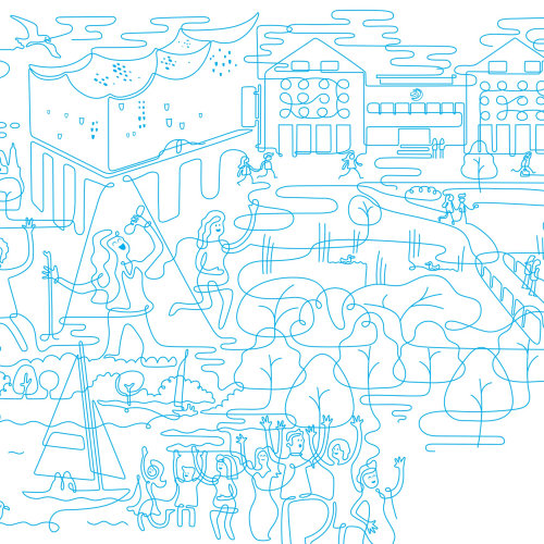 Line illustration of city park