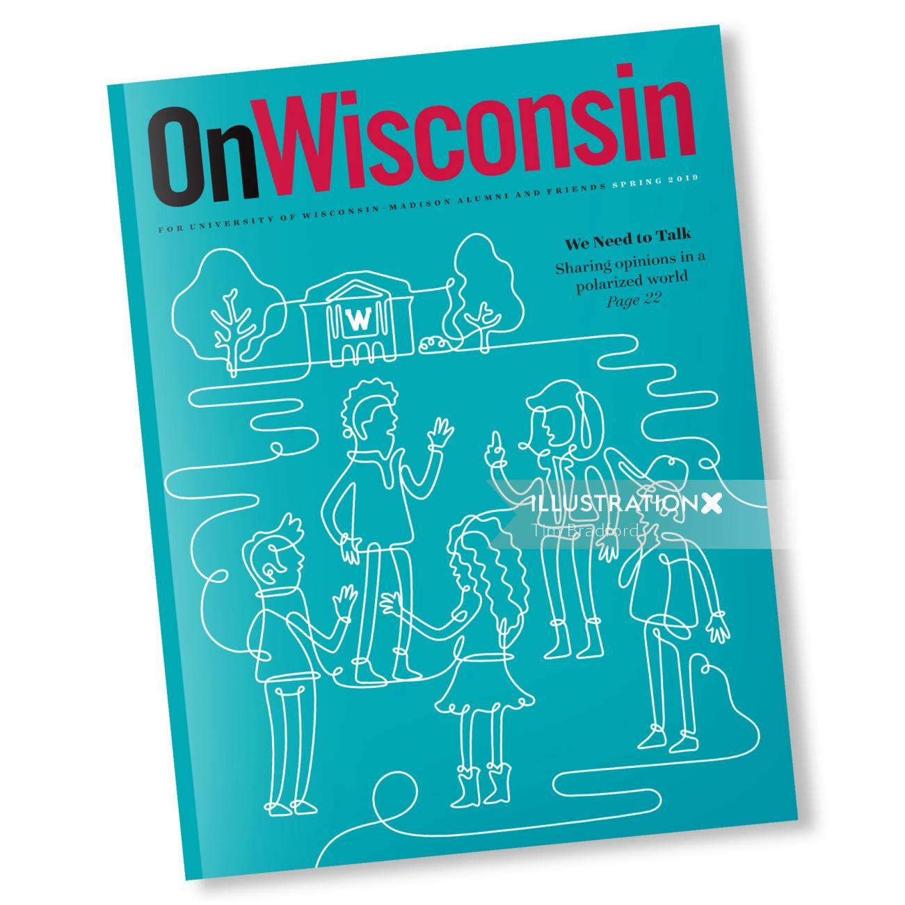 Editorial line illustration of on wisonsin