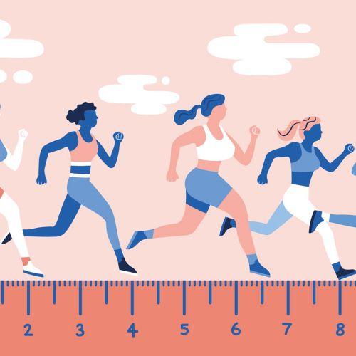 digital illustration of woman racing on tape