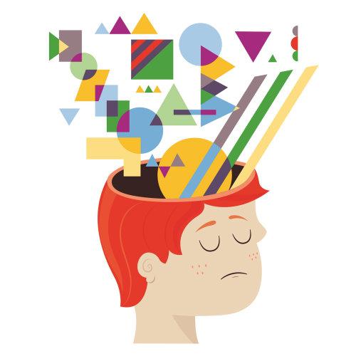 Ilustração digital de menino com formas na cabeça