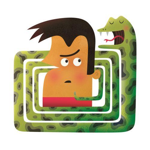 Digital illustration of boy in snake puzzle