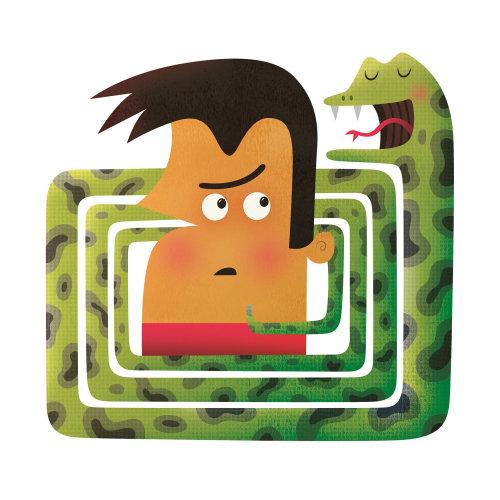 Ilustração digital de menino em um quebra-cabeça de cobra