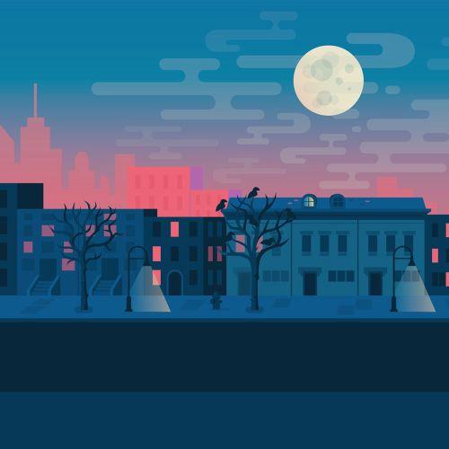 Digital illustration of night city