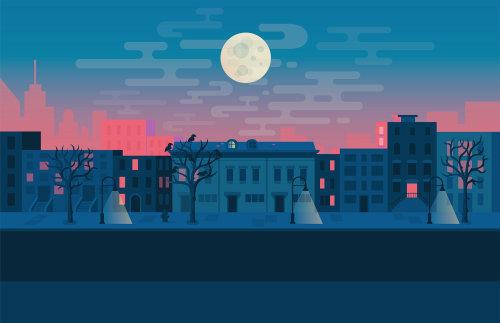 Ilustração digital da cidade à noite
