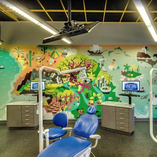 Children wall illustration in dental room