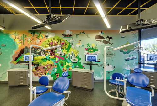 Children wall illustration in dental room