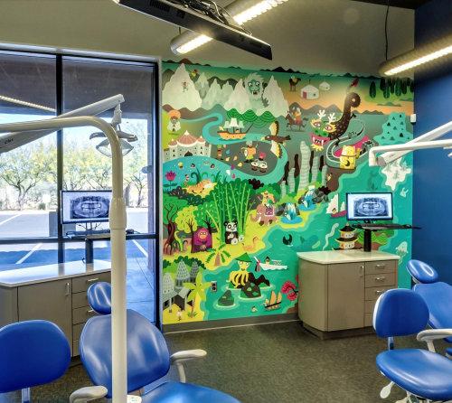 ilustração de parede infantil no hospital