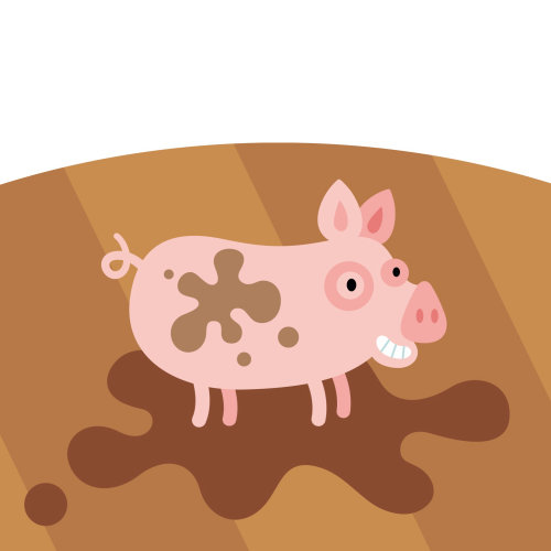 gif animation of pig in mud