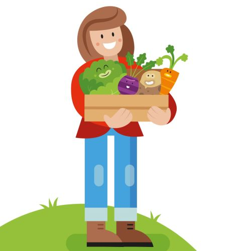 a farmer with vegetables gif animation