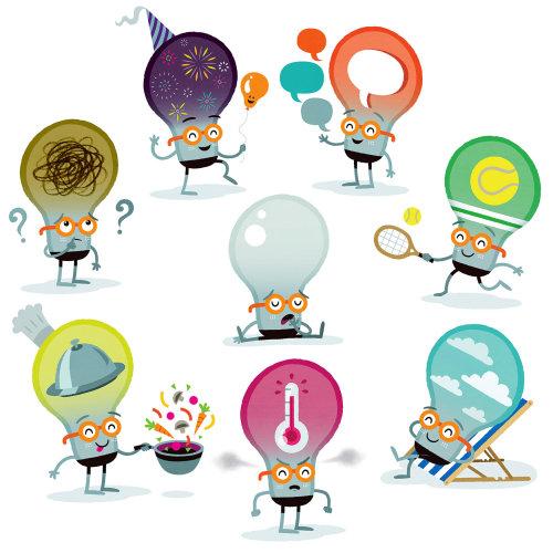 personagens de desenhos animados de lâmpadas