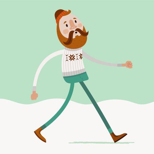 animação digital do ciclo de caminhada