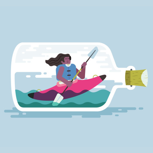 Animation kayaker in a bottle