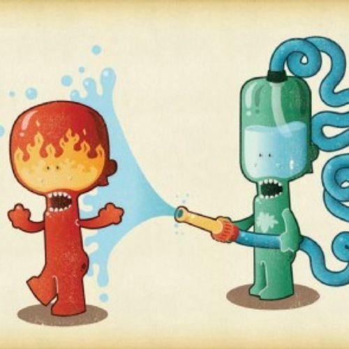 illustration of water robo comic character