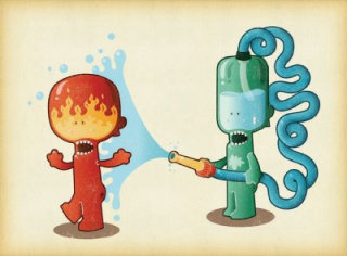 illustration of water robo comic character