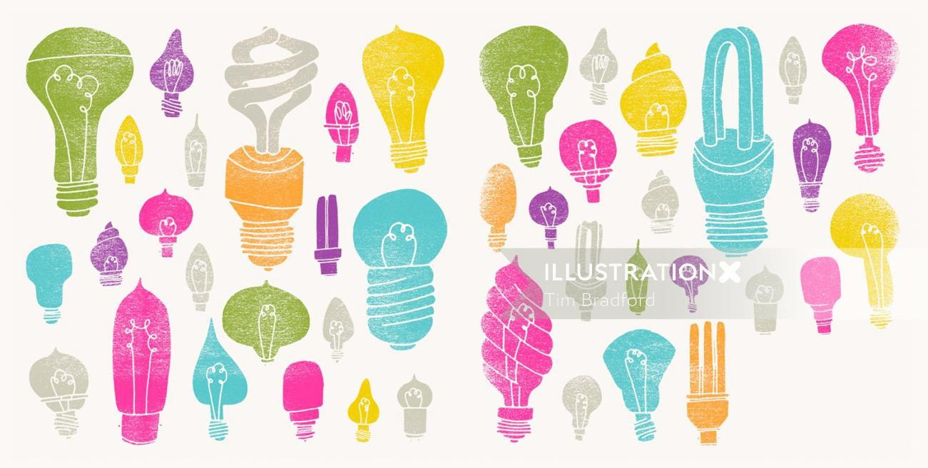 light bulbs graphic illustration