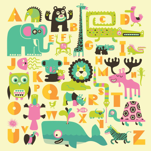 Animal alphabet infographics